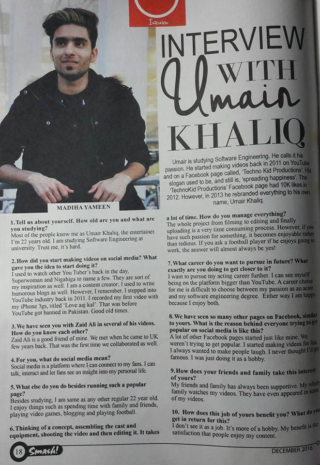 umair khaliq interview in smash magazine